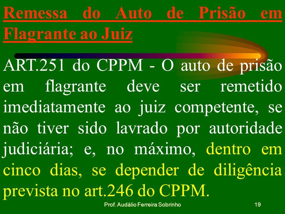 Prof. Audálio Ferreira Sobrinho18 Recolhimento a prisão. Diligências Art. 246 do CPPM: Se das respostas resultarem fundadas suspeitas contra a pessoa