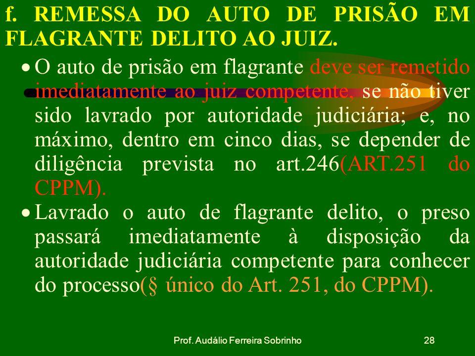 Prof. Audálio Ferreira Sobrinho27 Relaxamento da prisão Art.247,§2º do CPPM:se, ao contrário da hipótese prevista no art.246, a autoridade militar ou