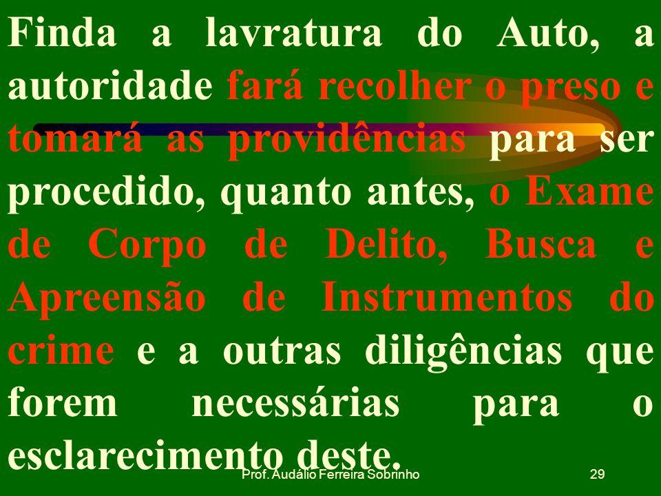Prof. Audálio Ferreira Sobrinho28 f. REMESSA DO AUTO DE PRISÃO EM FLAGRANTE DELITO AO JUIZ. O auto de prisão em flagrante deve ser remetido imediatame