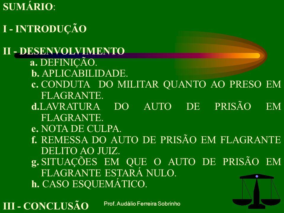 Prof.Audálio Ferreira Sobrinho3 SUMÁRIO: I - INTRODUÇÃO II - DESENVOLVIMENTO a.