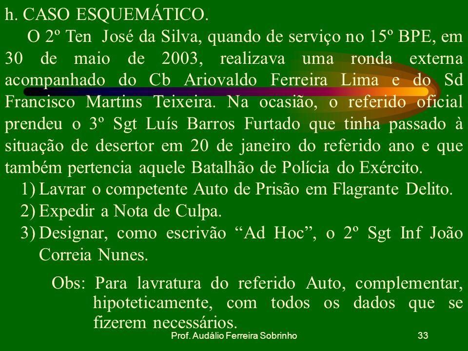 Prof. Audálio Ferreira Sobrinho32 g. SITUAÇÕES EM QUE O AUTO DE PRISÃO EM FLAGRANTE ESTARÁ NULO. falta de testemunhas da apresentação do preso pelo co