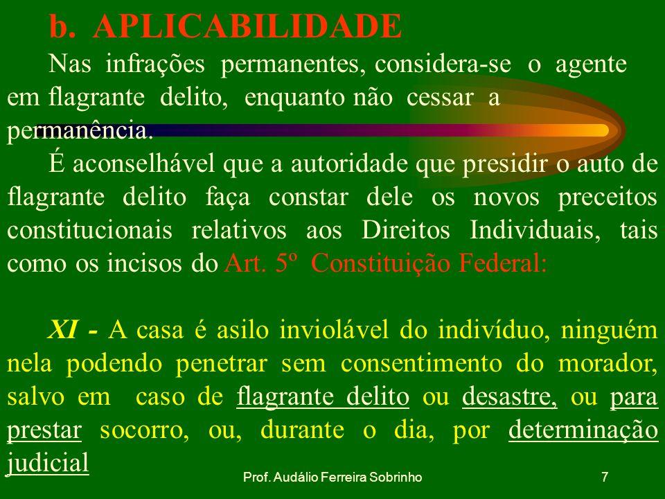 Prof. Audálio Ferreira Sobrinho6 CONSIDERA-SE EM FLAGRANTE DELITO AQUELE QUE:Art. 244 DO CPPM 1) Está cometendo o crime (flagrância própria); 2) Acaba