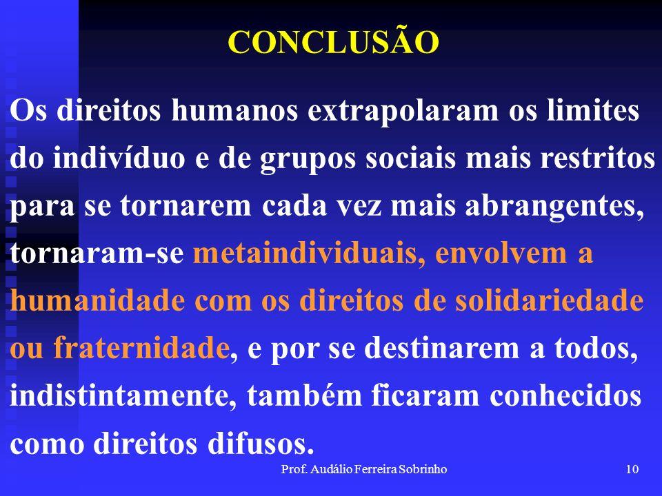 Prof. Audálio Ferreira Sobrinho9 CONCLUSÃO Todos os seres vivos, de um modo ou de outro, causam transformações no ambiente em que vivem, mas o homem t