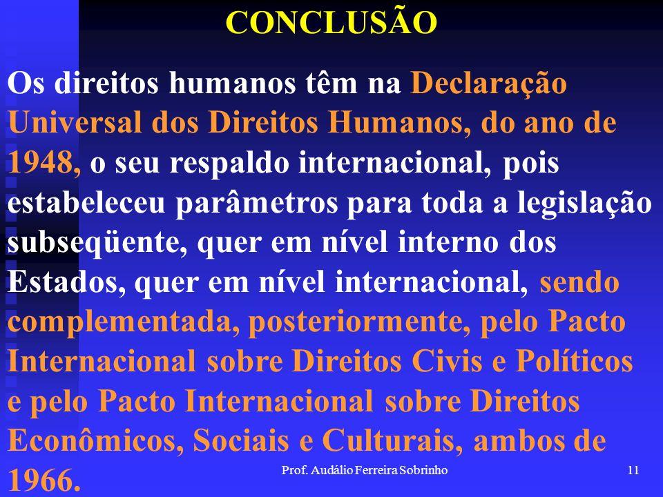 Prof. Audálio Ferreira Sobrinho10 CONCLUSÃO Os direitos humanos extrapolaram os limites do indivíduo e de grupos sociais mais restritos para se tornar
