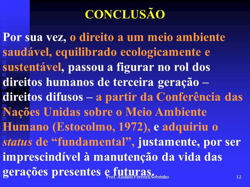 Prof. Audálio Ferreira Sobrinho11 CONCLUSÃO Os direitos humanos têm na Declaração Universal dos Direitos Humanos, do ano de 1948, o seu respaldo inter