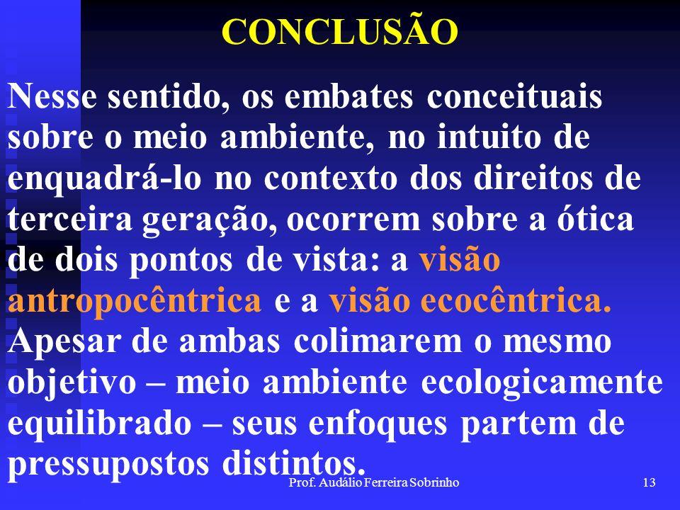 Prof. Audálio Ferreira Sobrinho12 CONCLUSÃO Por sua vez, o direito a um meio ambiente saudável, equilibrado ecologicamente e sustentável, passou a fig