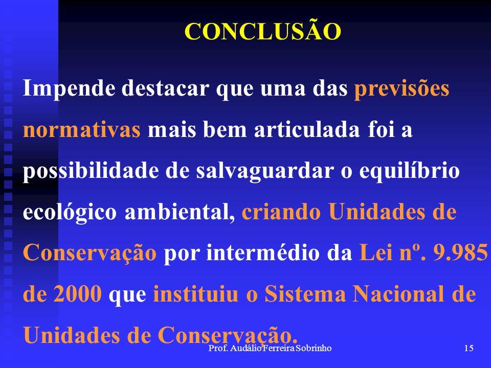 Prof. Audálio Ferreira Sobrinho14 CONCLUSÃO O Brasil não permaneceu à margem desse processo, e a evolução normativa ambiental foi profícua a partir da