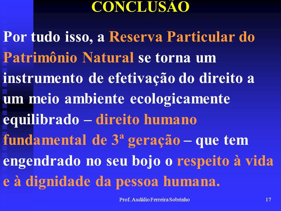 Prof. Audálio Ferreira Sobrinho16 CONCLUSÃO Assim, as RPPNs seguem ao encontro da idéia de que a função socioambiental da propriedade somente se conso