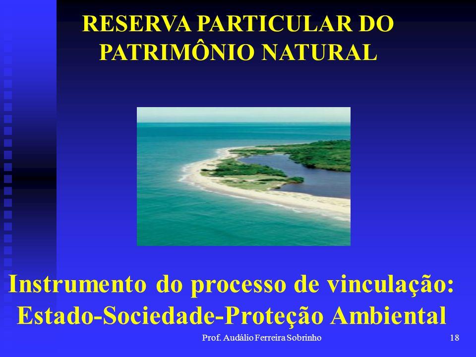 Prof. Audálio Ferreira Sobrinho17 CONCLUSÃO Por tudo isso, a Reserva Particular do Patrimônio Natural se torna um instrumento de efetivação do direito