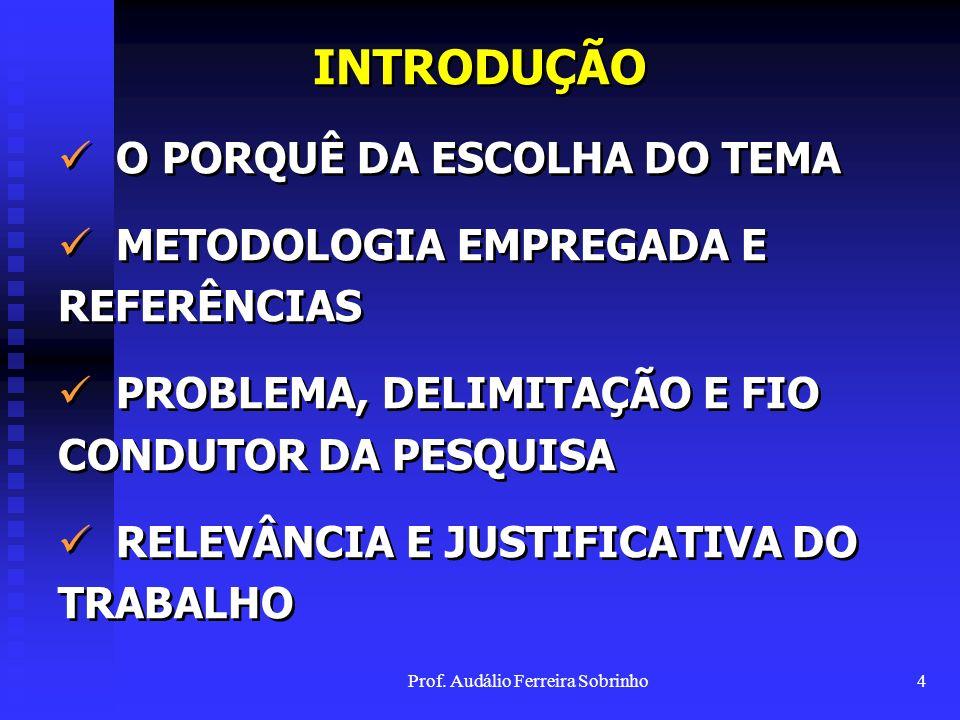 Prof. Audálio Ferreira Sobrinho3 SUMÁRIO INTRODUÇÃO I.DIREITOS HUMANOS E MEIO AMBIENTE II.EVOLUÇÕES TEÓRICAS E NORMATIVAS DO MEIO AMBIENTE III. A RPPN