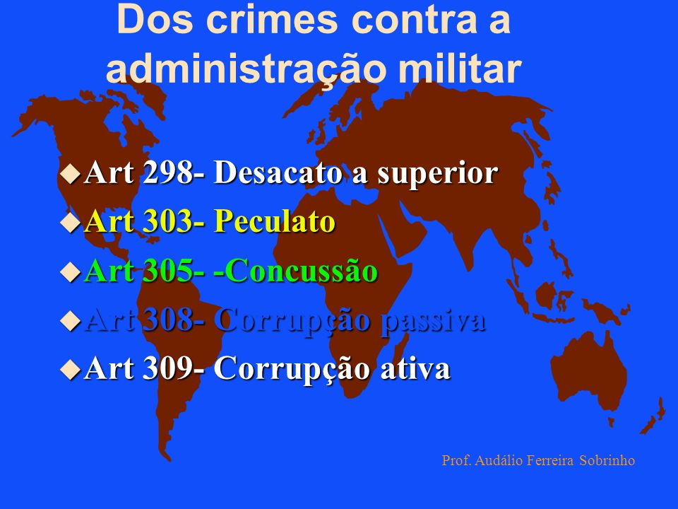 Dos crimes contra a Administração Militar Do art.298 ao 339 Prof. Audálio Ferreira Sobrinho