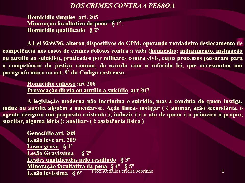 Prof. Audálio Ferreira Sobrinho1 DOS CRIMES CONTRA A PESSOA Homicídio simples art. 205 Minoração facultativa da pena § 1º. Homicídio qualificado § 2º
