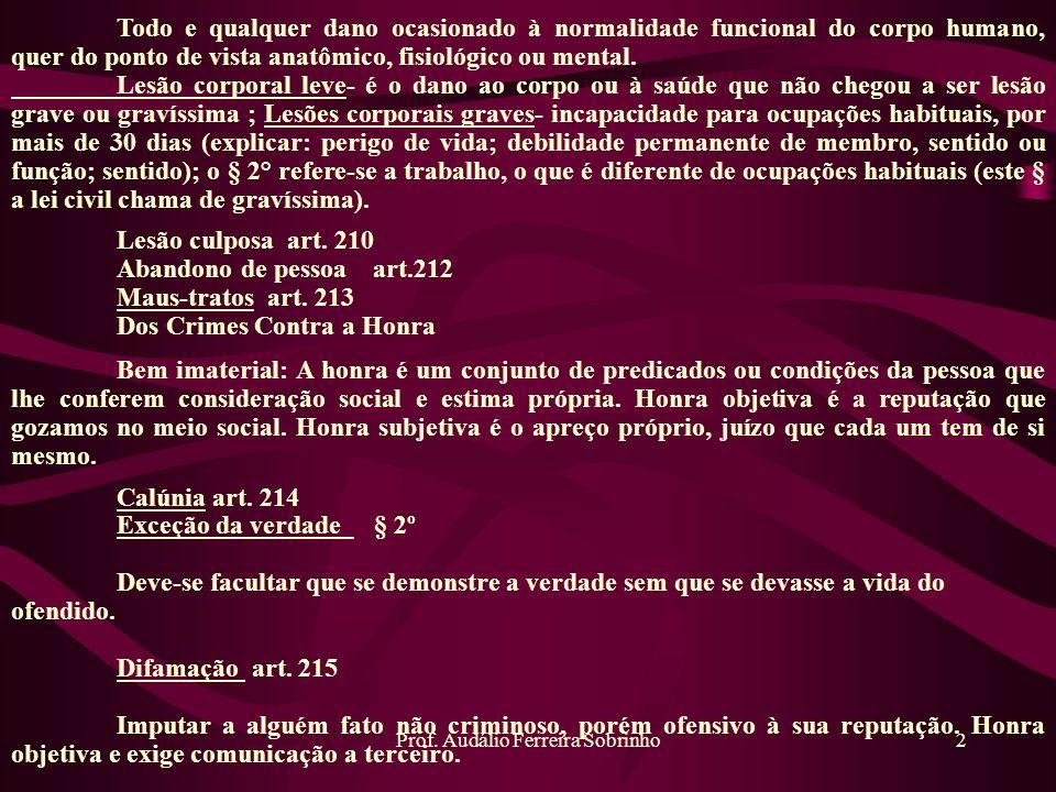 Prof. Audálio Ferreira Sobrinho2 Todo e qualquer dano ocasionado à normalidade funcional do corpo humano, quer do ponto de vista anatômico, fisiológic