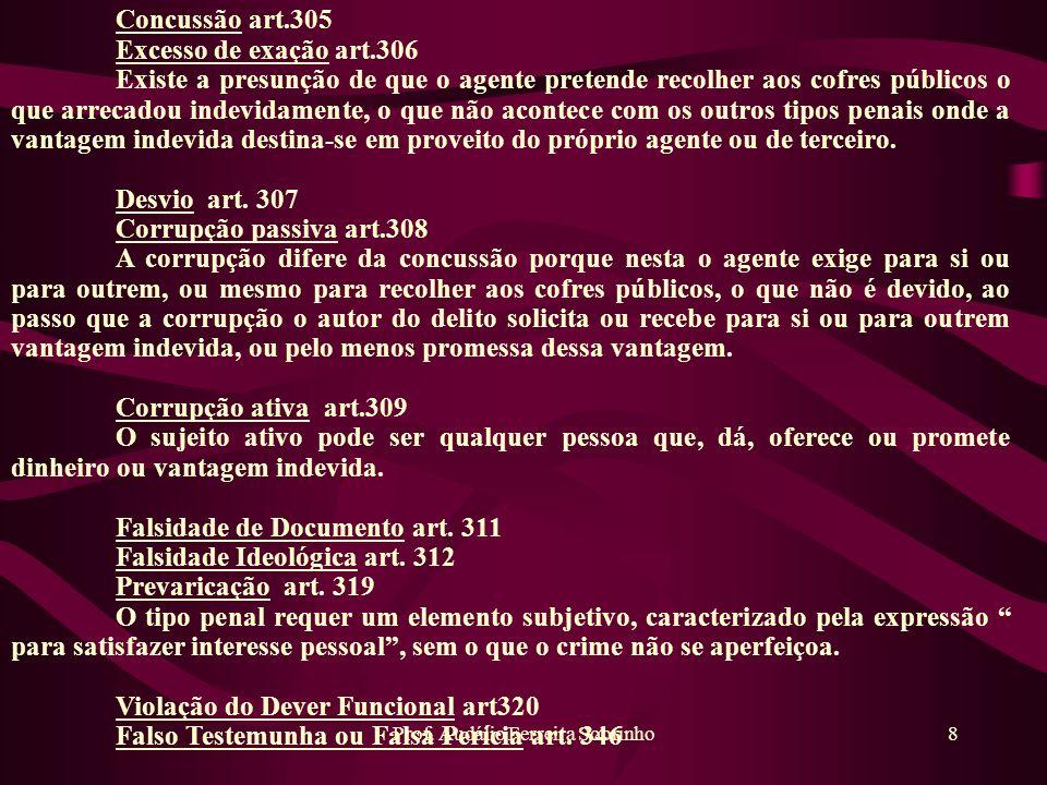 Prof. Audálio Ferreira Sobrinho8 Concussão art.305 Excesso de exação art.306 Existe a presunção de que o agente pretende recolher aos cofres públicos