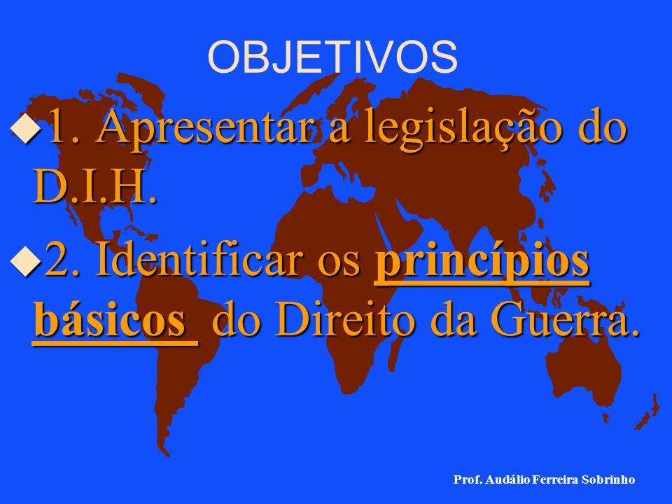 DIREITO INTERNACIONAL HUMANITÁRIO D.I.H. Direito Internacional dos Conflitos Armados D.I.C.A. Prof. Audálio Ferreira Sobrinho