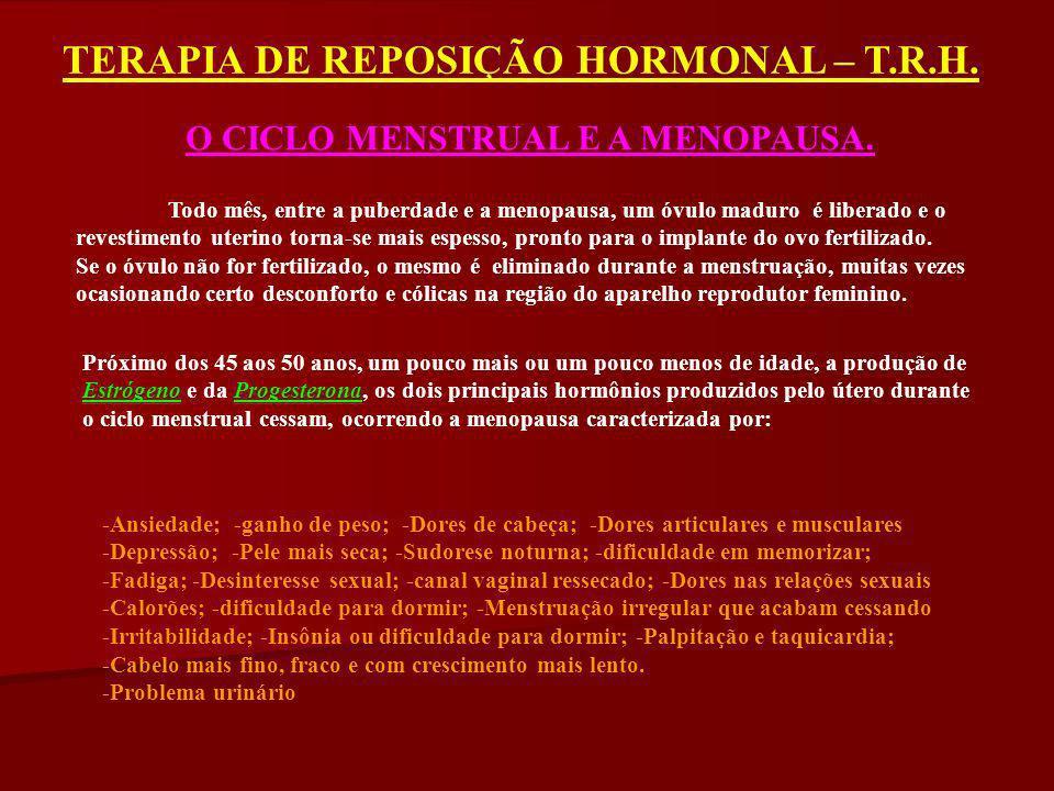 TERAPIA DE REPOSIÇÃO HORMONAL – T.R.H. O CICLO MENSTRUAL E A MENOPAUSA. Todo mês, entre a puberdade e a menopausa, um óvulo maduro é liberado e o reve