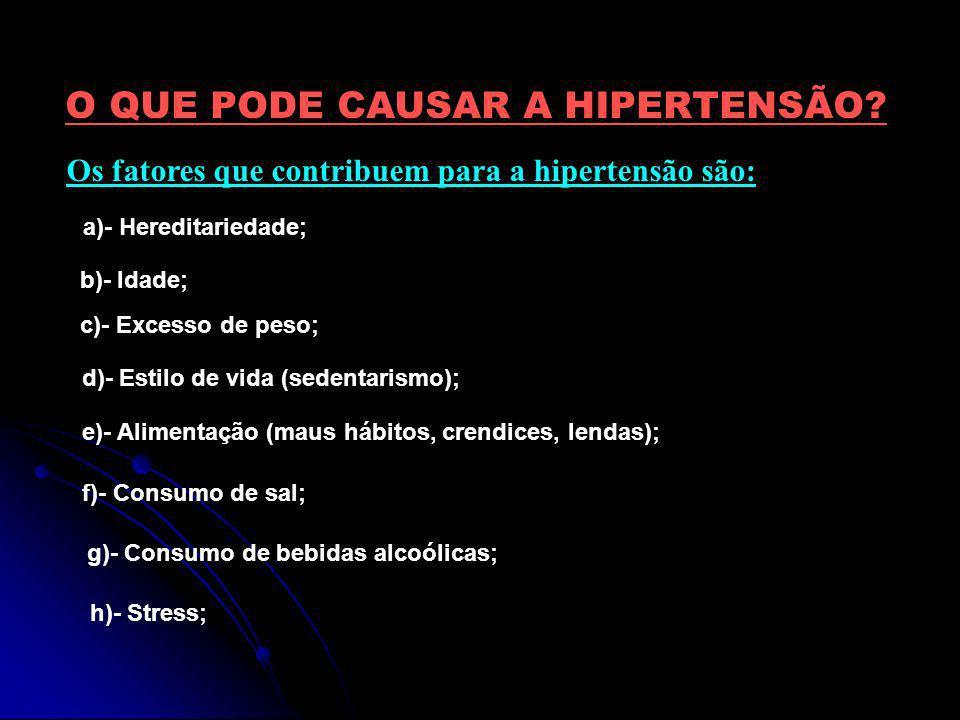O QUE PODE CAUSAR A HIPERTENSÃO? Os fatores que contribuem para a hipertensão são: a)- Hereditariedade; b)- Idade; c)- Excesso de peso; d)- Estilo de