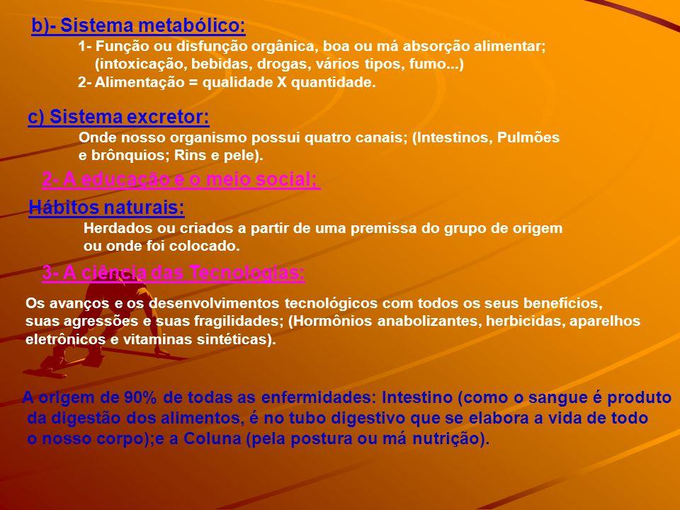 b)- Sistema metabólico: 1- Função ou disfunção orgânica, boa ou má absorção alimentar; (intoxicação, bebidas, drogas, vários tipos, fumo...) 2- Alimen