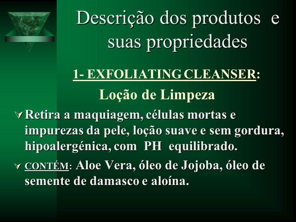 Descrição dos produtos e suas propriedades 1- EXFOLIATING CLEANSER: Loção de Limpeza Retira a maquiagem, células mortas e impurezas da pele, loção sua