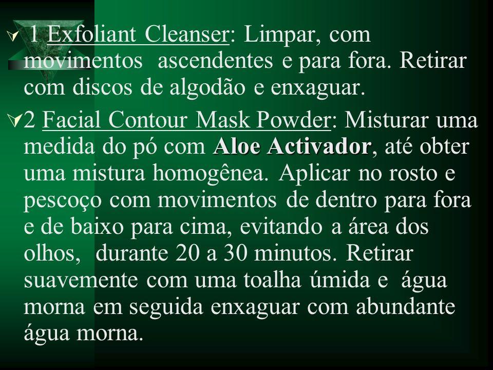 1 Exfoliant Cleanser: Limpar, com movimentos ascendentes e para fora. Retirar com discos de algodão e enxaguar. Aloe Activador 2 Facial Contour Mask P