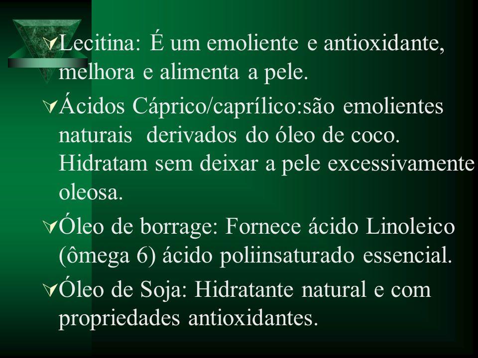Lecitina: É um emoliente e antioxidante, melhora e alimenta a pele. Ácidos Cáprico/caprílico:são emolientes naturais derivados do óleo de coco. Hidrat