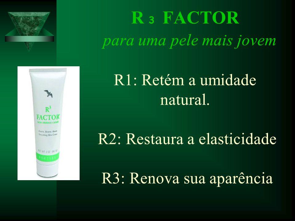 R 3 FACTOR para uma pele mais jovem R1: Retém a umidade natural. R2: Restaura a elasticidade R3: Renova sua aparência