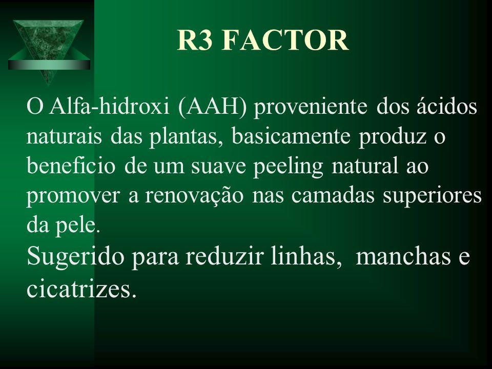 R3 FACTOR O Alfa-hidroxi (AAH) proveniente dos ácidos naturais das plantas, basicamente produz o beneficio de um suave peeling natural ao promover a r