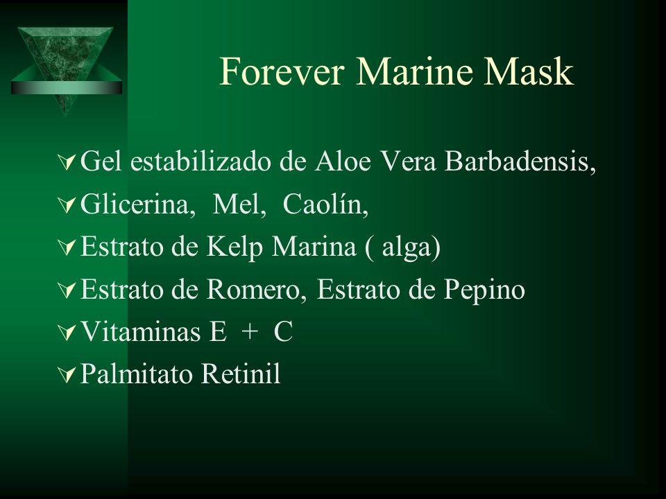 Forever Marine Mask Gel estabilizado de Aloe Vera Barbadensis, Glicerina, Mel, Caolín, Estrato de Kelp Marina ( alga) Estrato de Romero, Estrato de Pe