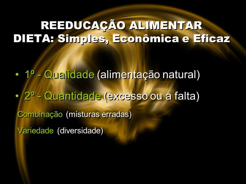 REEDUCAÇÃO ALIMENTAR DIETA: Simples, Econômica e Eficaz 1º - Qualidade (alimentação natural) 2º - Quantidade (excesso ou a falta) Combinação (misturas