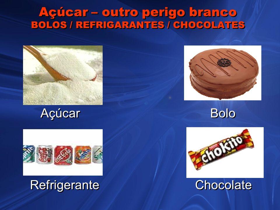 Açúcar – outro perigo branco BOLOS / REFRIGARANTES / CHOCOLATES Açúcar Bolo Refrigerante Chocolate Açúcar Bolo Refrigerante Chocolate