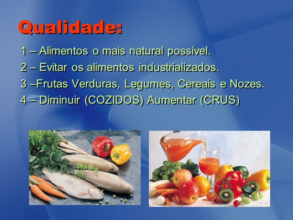 Qualidade: 1 – Alimentos o mais natural possível. 2 – Evitar os alimentos industrializados. 3 –Frutas Verduras, Legumes, Cereais e Nozes. 4 – Diminuir