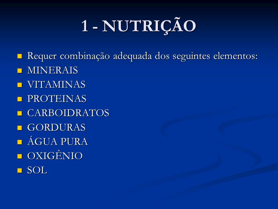 1 - NUTRIÇÃO Requer combinação adequada dos seguintes elementos: Requer combinação adequada dos seguintes elementos: MINERAIS MINERAIS VITAMINAS VITAM