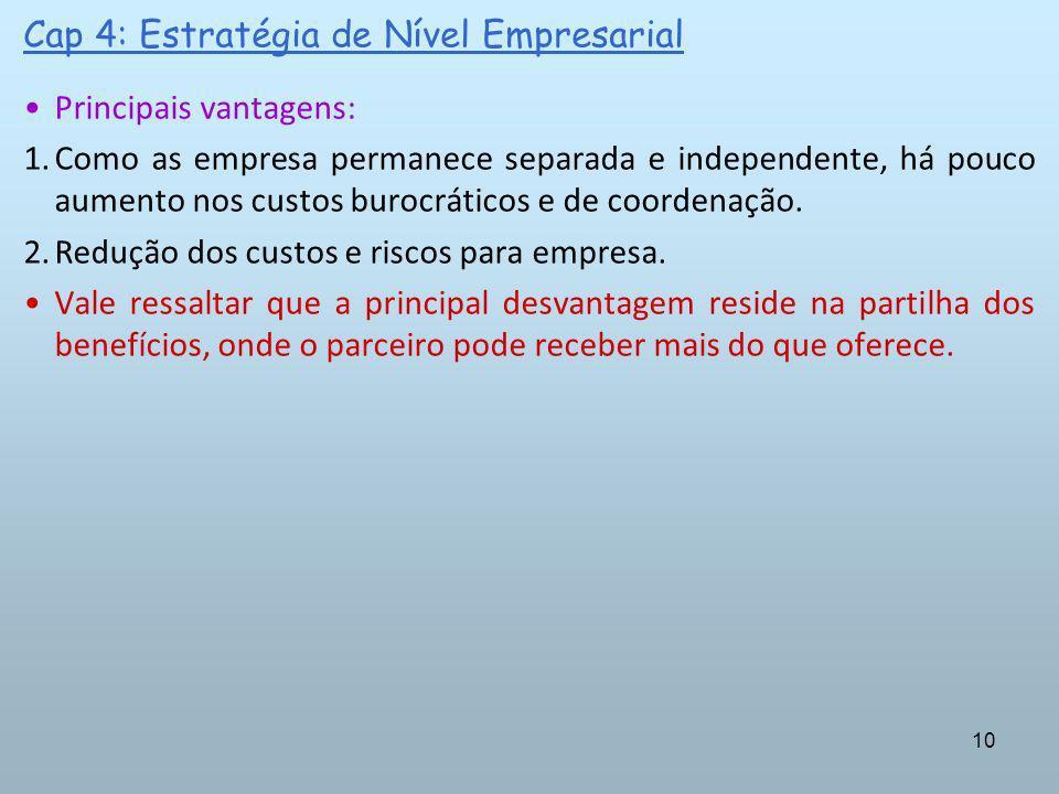 10 Cap 4: Estratégia de Nível Empresarial Principais vantagens: 1.Como as empresa permanece separada e independente, há pouco aumento nos custos buroc