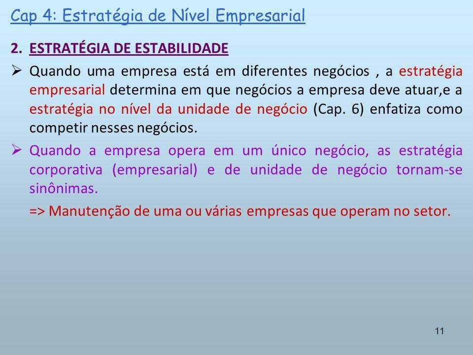 11 Cap 4: Estratégia de Nível Empresarial 2.ESTRATÉGIA DE ESTABILIDADE Quando uma empresa está em diferentes negócios, a estratégia empresarial determ