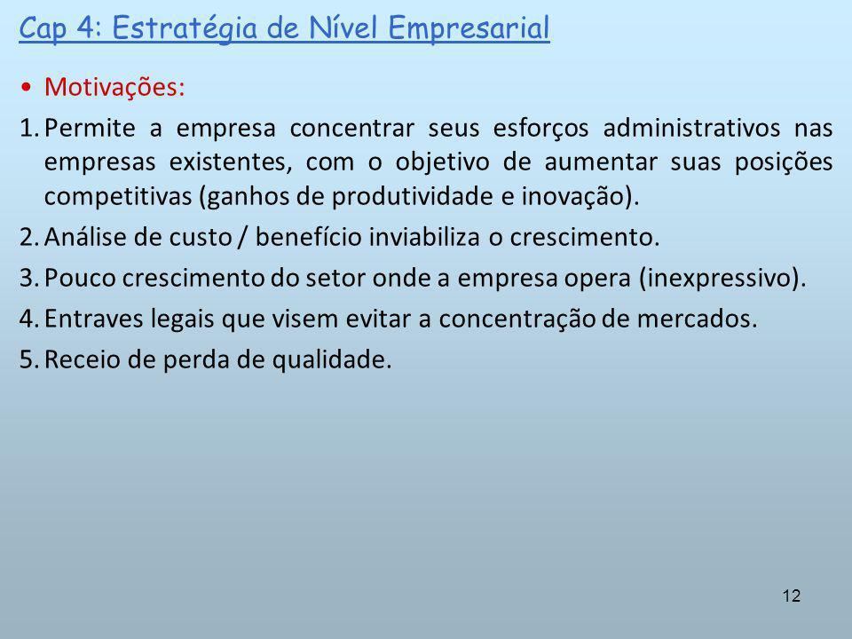12 Cap 4: Estratégia de Nível Empresarial Motivações: 1.Permite a empresa concentrar seus esforços administrativos nas empresas existentes, com o obje
