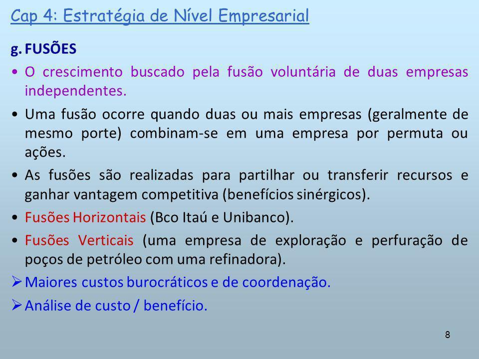 8 Cap 4: Estratégia de Nível Empresarial g.FUSÕES O crescimento buscado pela fusão voluntária de duas empresas independentes. Uma fusão ocorre quando