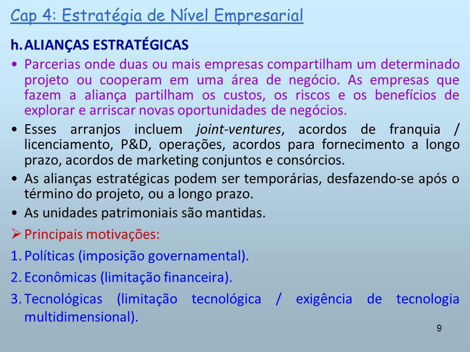 9 Cap 4: Estratégia de Nível Empresarial h.ALIANÇAS ESTRATÉGICAS Parcerias onde duas ou mais empresas compartilham um determinado projeto ou cooperam