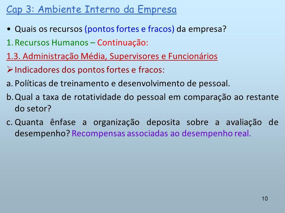 10 Cap 3: Ambiente Interno da Empresa Quais os recursos (pontos fortes e fracos) da empresa? 1.Recursos Humanos – Continuação: 1.3. Administração Médi