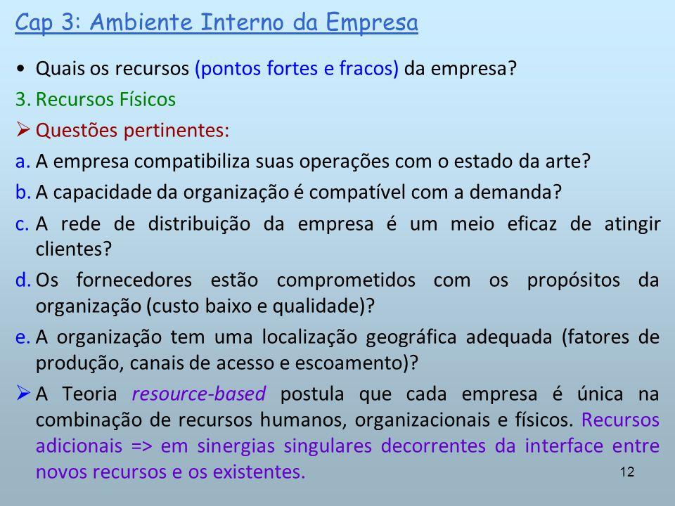 12 Cap 3: Ambiente Interno da Empresa Quais os recursos (pontos fortes e fracos) da empresa? 3.Recursos Físicos Questões pertinentes: a.A empresa comp