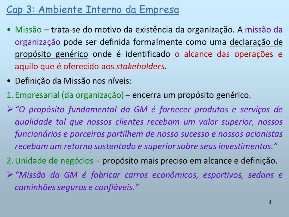 14 Cap 3: Ambiente Interno da Empresa Missão – trata-se do motivo da existência da organização. A missão da organização pode ser definida formalmente