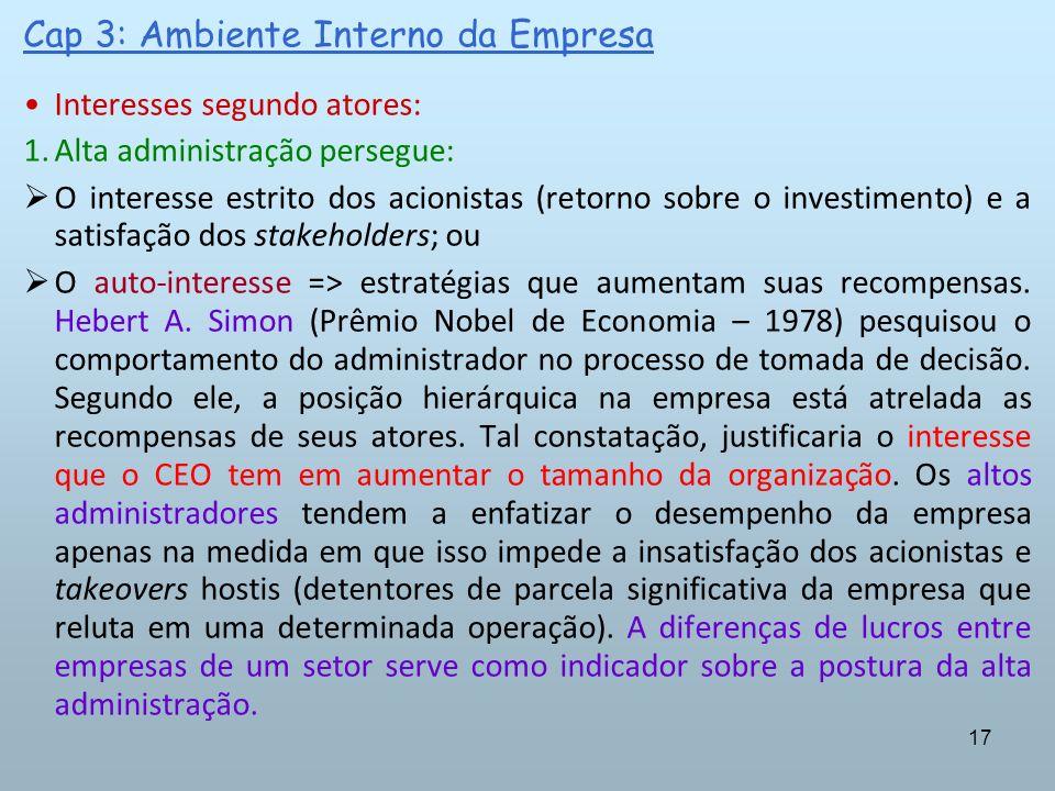 17 Cap 3: Ambiente Interno da Empresa Interesses segundo atores: 1.Alta administração persegue: O interesse estrito dos acionistas (retorno sobre o in