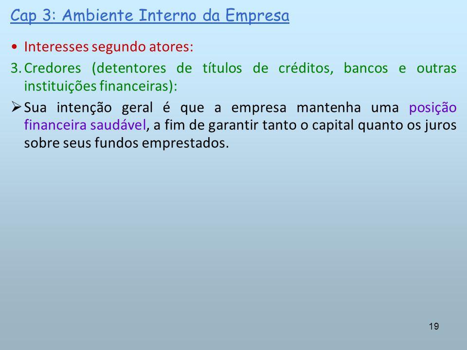 19 Cap 3: Ambiente Interno da Empresa Interesses segundo atores: 3.Credores (detentores de títulos de créditos, bancos e outras instituições financeir