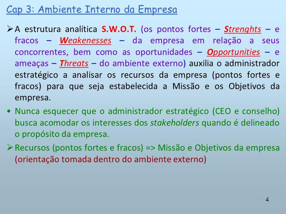 4 Cap 3: Ambiente Interno da Empresa A estrutura analítica S.W.O.T. (os pontos fortes – Strenghts – e fracos – Weakenesses – da empresa em relação a s
