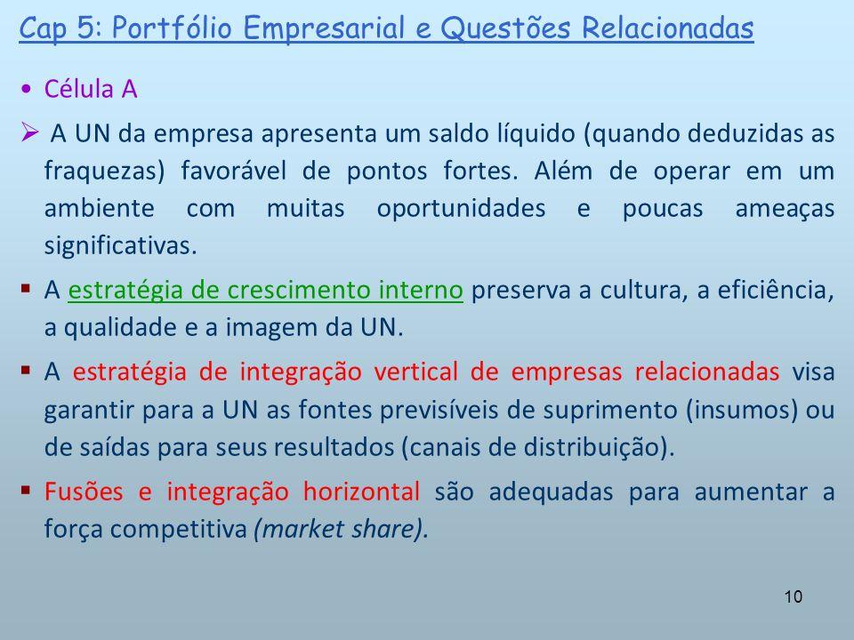 10 Cap 5: Portfólio Empresarial e Questões Relacionadas Célula A A UN da empresa apresenta um saldo líquido (quando deduzidas as fraquezas) favorável