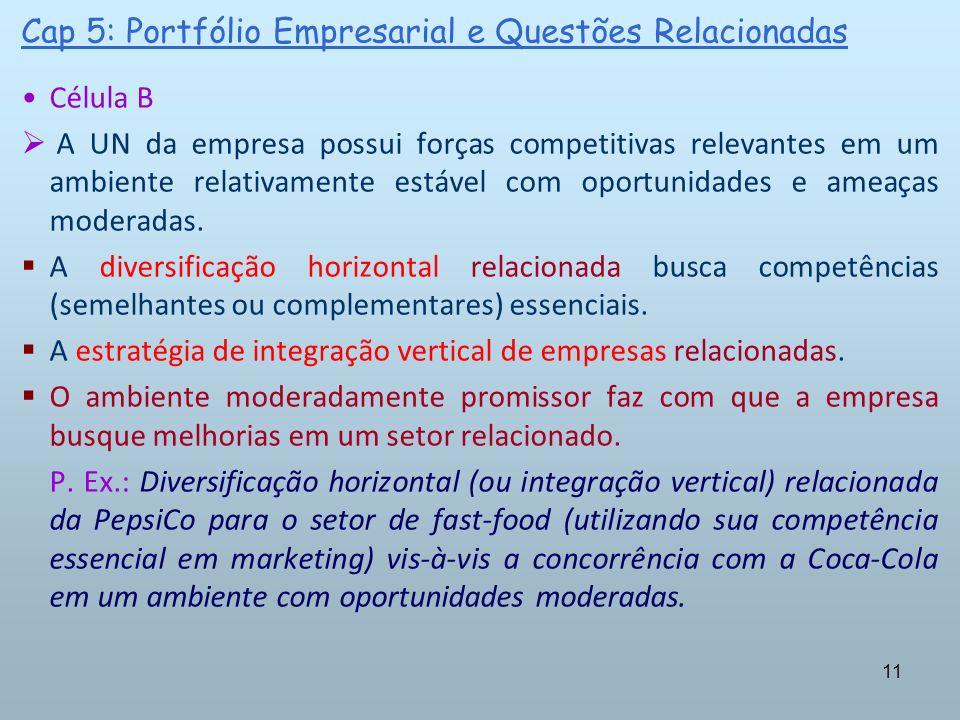 11 Cap 5: Portfólio Empresarial e Questões Relacionadas Célula B A UN da empresa possui forças competitivas relevantes em um ambiente relativamente es