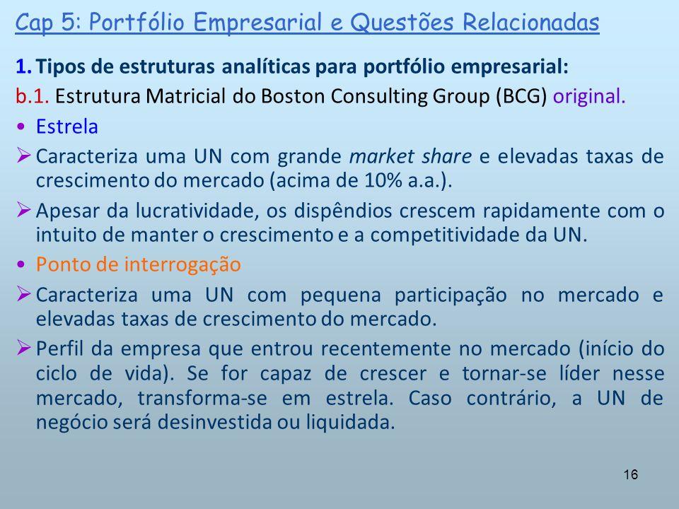 16 Cap 5: Portfólio Empresarial e Questões Relacionadas 1.Tipos de estruturas analíticas para portfólio empresarial: b.1. Estrutura Matricial do Bosto