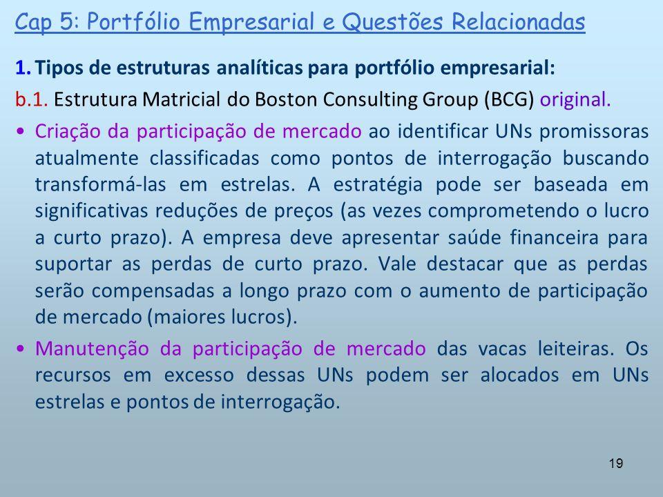 19 Cap 5: Portfólio Empresarial e Questões Relacionadas 1.Tipos de estruturas analíticas para portfólio empresarial: b.1. Estrutura Matricial do Bosto