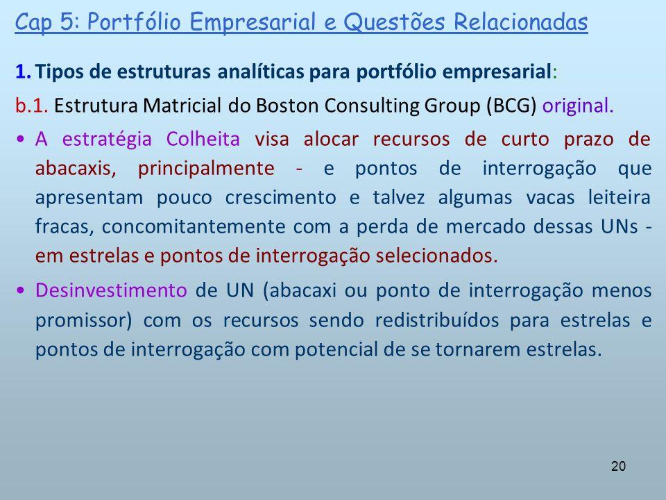 20 Cap 5: Portfólio Empresarial e Questões Relacionadas 1.Tipos de estruturas analíticas para portfólio empresarial: b.1. Estrutura Matricial do Bosto