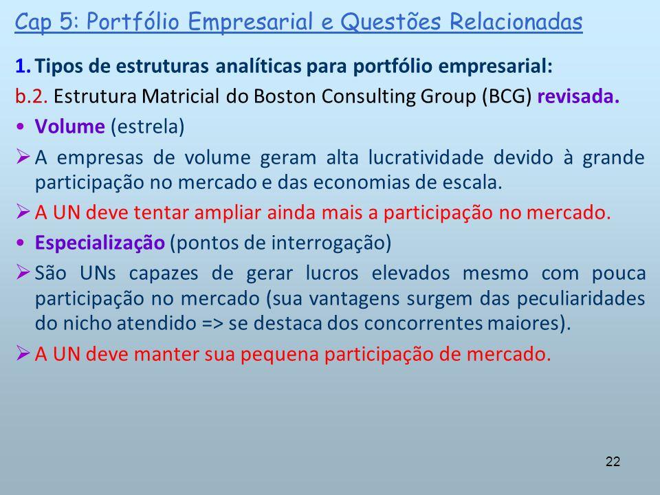22 Cap 5: Portfólio Empresarial e Questões Relacionadas 1.Tipos de estruturas analíticas para portfólio empresarial: b.2. Estrutura Matricial do Bosto