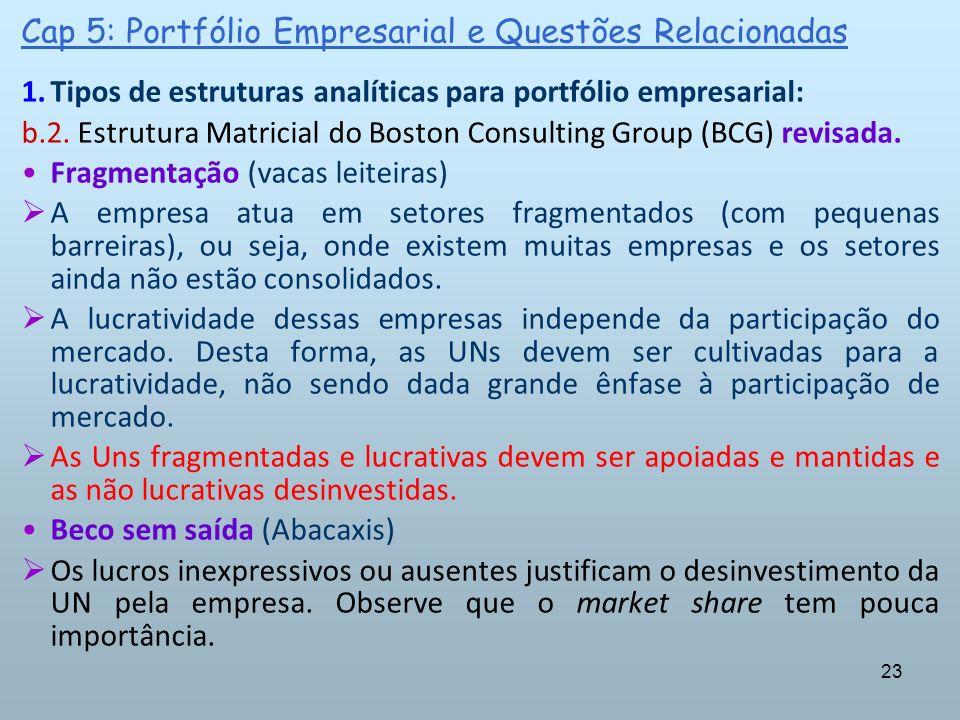 23 Cap 5: Portfólio Empresarial e Questões Relacionadas 1.Tipos de estruturas analíticas para portfólio empresarial: b.2. Estrutura Matricial do Bosto